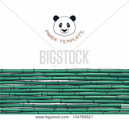 Template with bamboo. Japanese background. Bamboo and panda