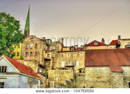 Buildings in the historic centre of Tallinn Estonia poster