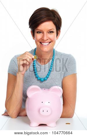 Elderly woman with piggy bank isolated white background