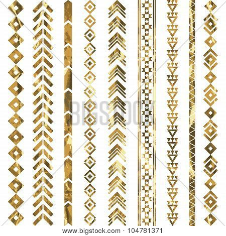 Tribal geometric gold pattern