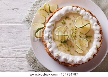 Key Lime Pie With Whipped Cream. Horizontal Top View