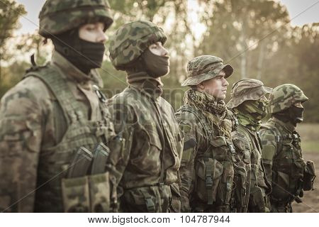 Picture of soldiers during combat basic training poster