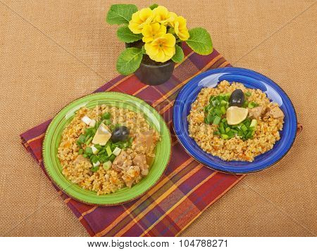 Porridge In A Dish Seasoned With Chives