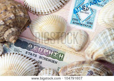 The Schengen visa in the passport and sea shells
