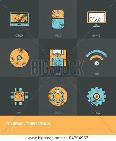 Electronics / Technology Vecotor Grunge Icons Vol.1