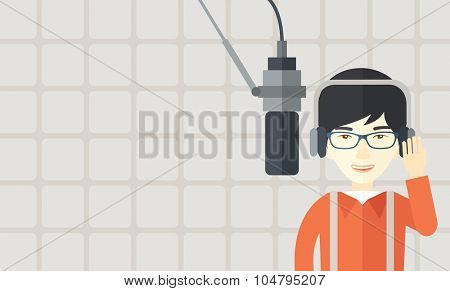 Cheerful Asian radio DJ wearing glasses with headphone and microphone vector flat design illustration. Horizontal layout with a text space. poster
