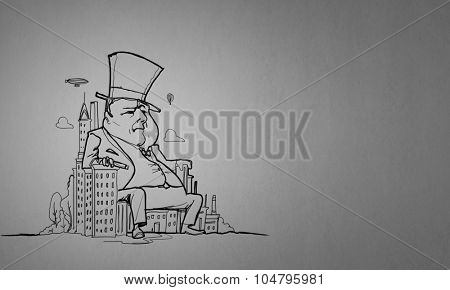 Caricature of funny banker man on white background poster