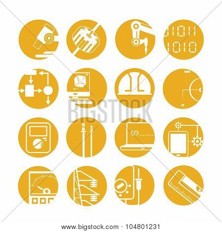 set of 16 automated robot icons; robotic arm, electric meter, cogwheel buttons poster