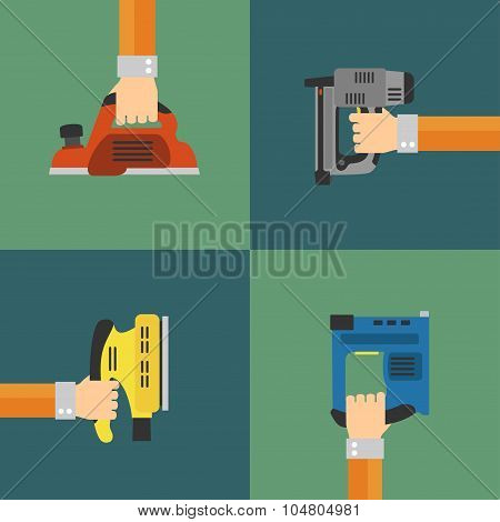 Power Tools vector,modern flat design style