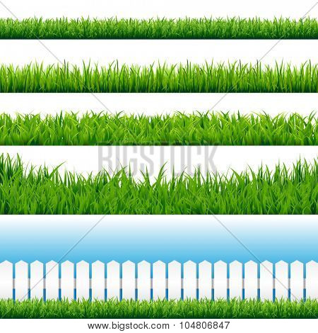 Realistic Grass Borders, Vector Illustration
