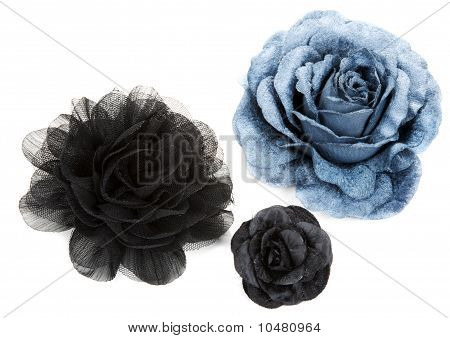 Two Black And One Blue Flower Rose From Lace