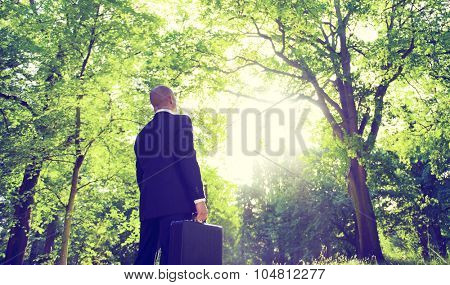 Businessman Alone Nature Relaxation Inspiration Concept