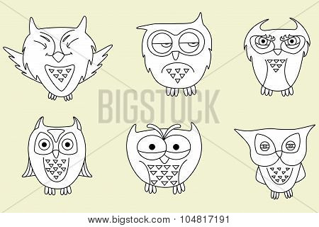 Vector set of cartoon owls no beige background