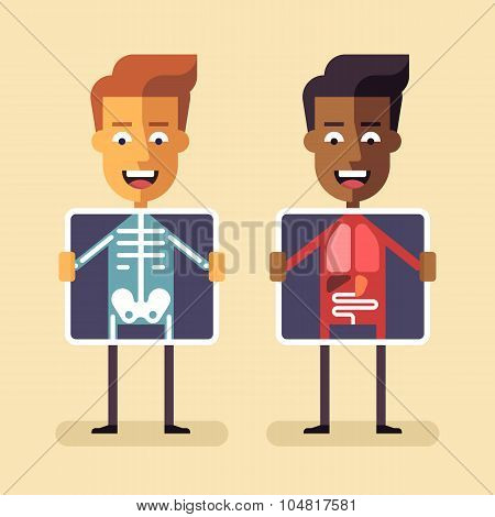 Men with xray screen showing their organs