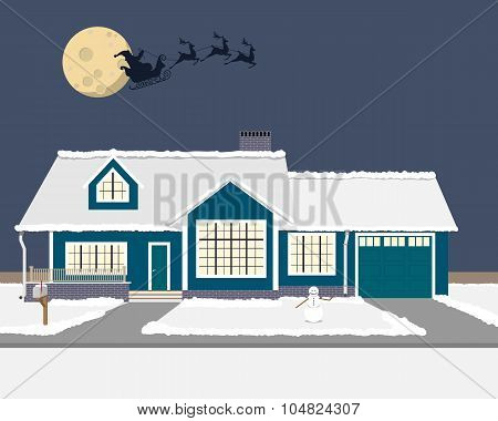 The fairytale New Year night Santa Claus flown by over the house in a sleigh on a background of the