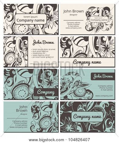 Floral business cards set
