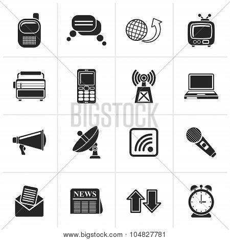 Black Communication and connection icons