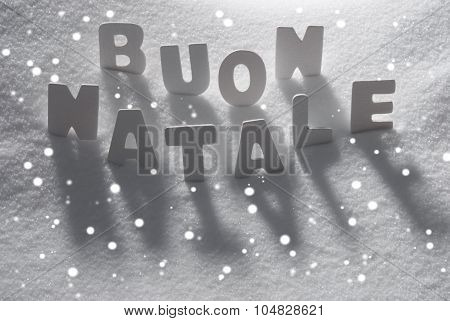 Word Buon Natale Mean Merry Christmas On Snow, Snowflakes