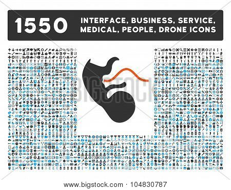 Ape Embryo Icon and More Interface, Business, Medical, People, Awards Vector Symbols