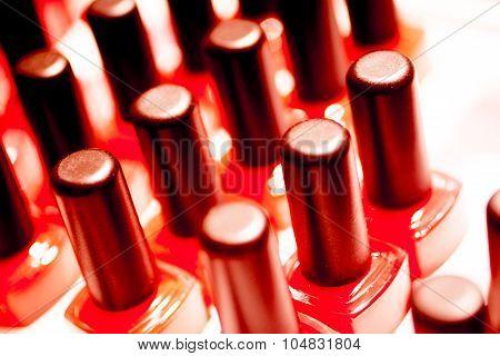 Nail polish varnish bottles makeup store shop. poster