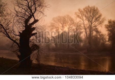 Dark Landscape Painting Showing Old Tree On The River Shore During Wildfire