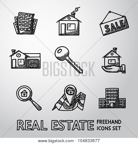 Set of freehand REAL ESTATE icons - landscape, sale tag, key, hand with house, search icon, map, sky