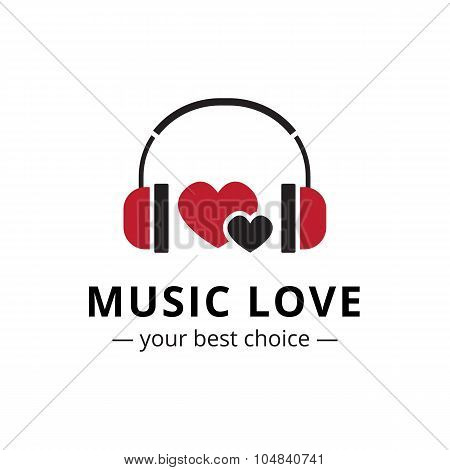 Vector trendy flat style music store logo. Headphones and heart logotype.