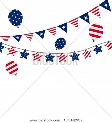 Bunting pennants for Independence Day USA, President Day, Washin