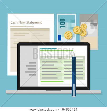 cash flow statement accounting software money calculator application laptop