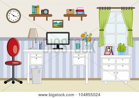 Homeoffice Workplace - Flat Design