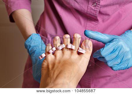 Chiropody Spa Salon. Rubbing Alcohol Nails.