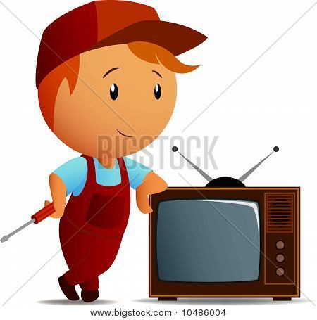 Service technician with tv