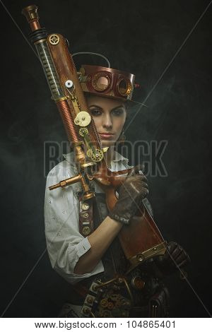 Beautiful girl steampunk in arms over dark background poster