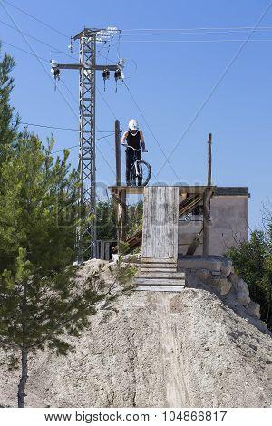 Bmx Cyclist Ready To Jump