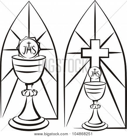 chalice on the background of steined glass