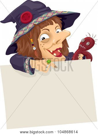Illustration of a Witch Holding a Voodoo Doll Pointing to a Board