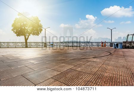 empty pedestrian walkway at a sunny day.