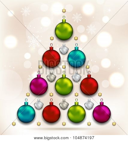 Christmas tree made of baubles, glowing background