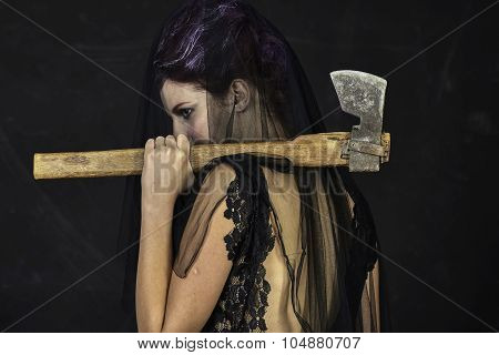 Mourning Widow with Axe - Back