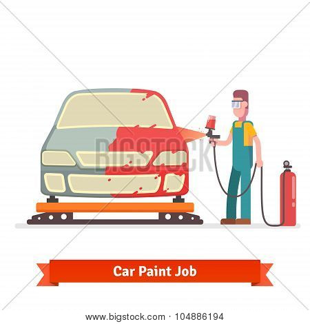 Specialist spray painting auto body
