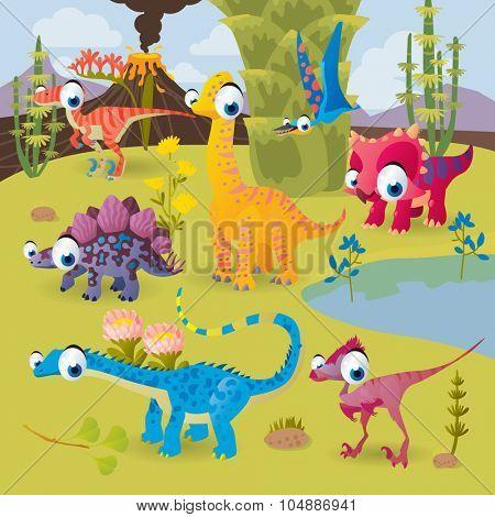 Prehistoric vector cartoon scenery: dinosaurs by the volcano: triceratops, stegosaurus, diplodocus, brachiosaurus, oviraptor, velociraptor