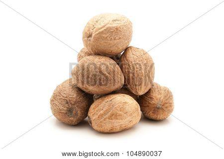 Pile of Organic Nutmeg Seed.