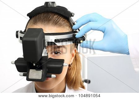 Ophthalmologist - binocular sight glass, ophthalmoscope