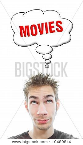 Young white Caucasian male adult thinks about going to the movie theater in his think bubble isolated on white background poster