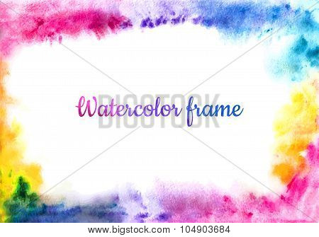 Colorful Abstract Frame. Watercolor Background. Modern Creative Background For Trendy Design. Vector