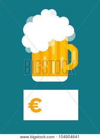 Beer bottle price blank vector. Beer bottle, beer glass and beer label. Beer cups silhouette, beer vector icons, beer isolated. Oktoberfest beer vector set. Beer drink, beer sign, price blank euro