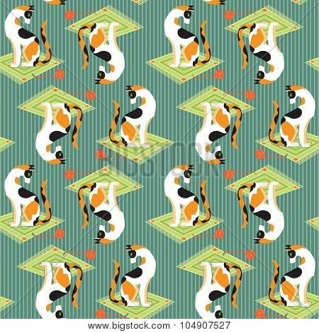 Pattern with cartoon fanny cats.