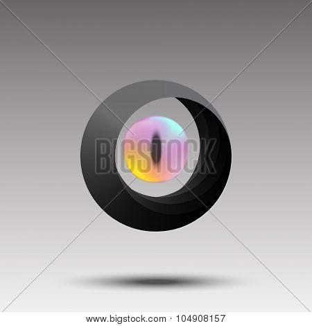 Abstract photographer logo eye concept.