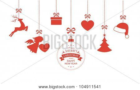 Various hanging Christmas ornaments such as Christmas bauble, santa hat, reindeer, angel, heart, present and Christmas tree with a ribbon forming a versatile border isolated on white.