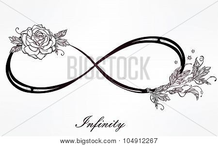Infinity linear poster with rose and herbs.
